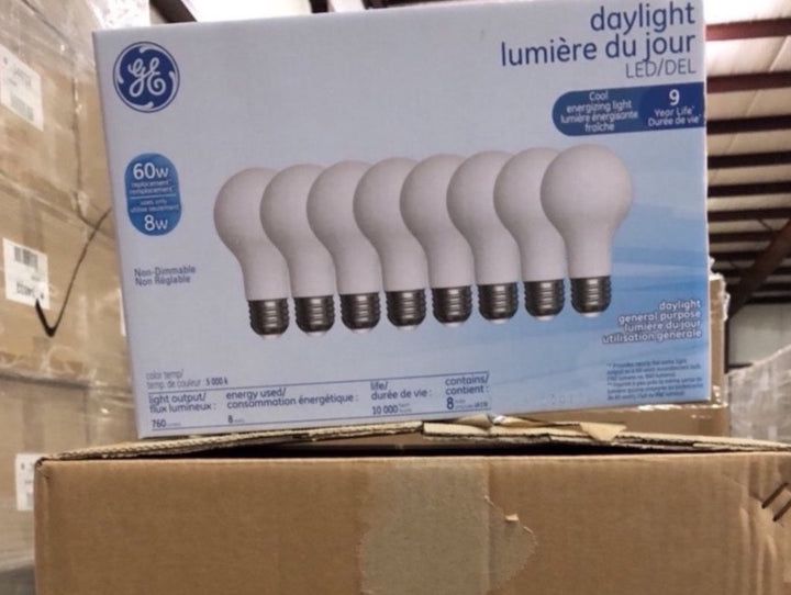 GE Classic 60-Watt EQ A19 Daylight LED Light Bulb 34035 (8-pack) - 144 packs/pallet