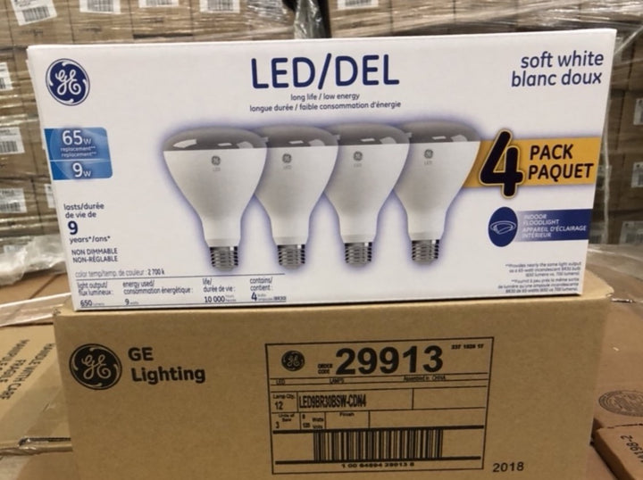 GE LED 9W (65W Equivalent) Soft White, BR30 Indoor Flood Light Bulbs, Medium Base 29913 (4-pack) - 252 packs/pallet