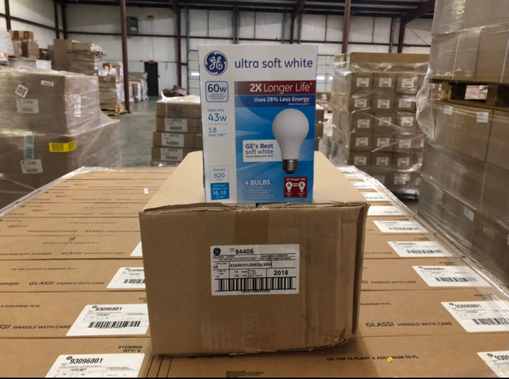 GE Halogen 43W General Purpose 2x Life Soft White 94406 (4-pack) - 864 packs/pallet