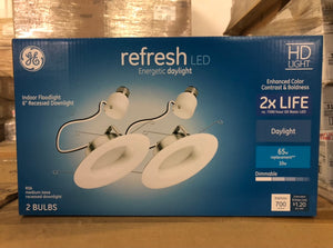 GE Refresh Integrated LED 6-in 65-Watt Equivalent Frosted Round Dimmable Recessed Downlight 45002 (2-pack) - 180 packs/pallet