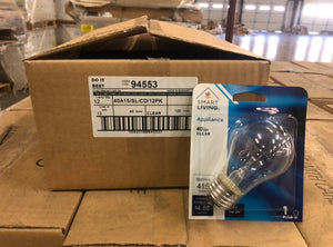 SmartLiving Appliance 40-watt A15 Incandescent Light Bulb Clear 94553 (1-pack) - 1,152 packs/pallet
