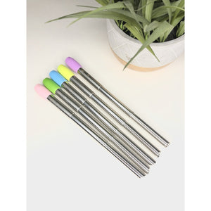 Collapsible Stainless Steel Boba/Smoothie Straw with Colorful Silicone Tip