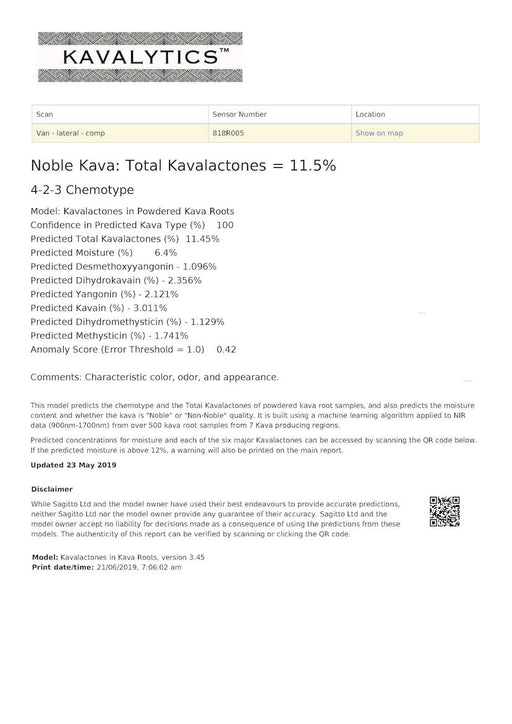 Kava Analysis Service