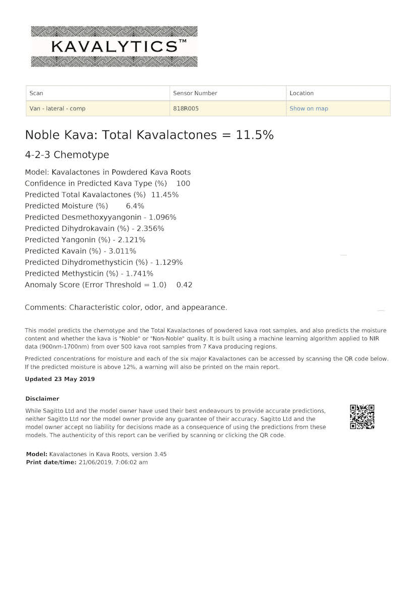 The KavaLytics™ Kava Quality Assessment System