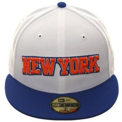 Exclusive New Era 59Fifty New York Knicks Arch Hat - 2T White, Royal