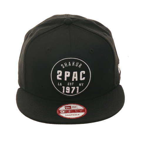 2Pac Shakur Circle Snapback Hat - Black, White