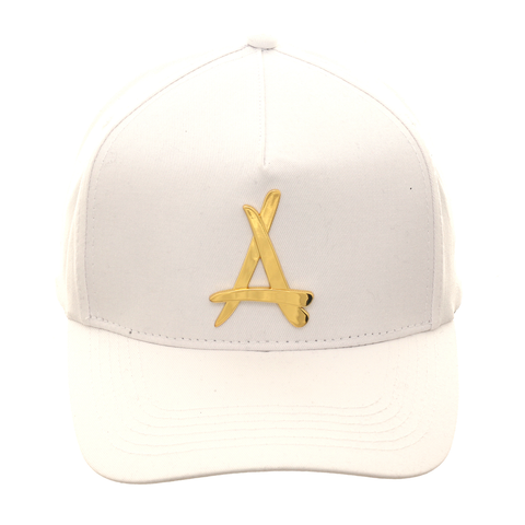 Tha Alumni Presidential 24K Curved Adjustable Hat - White, Gold