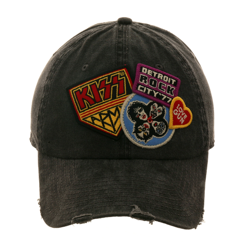 American Needle Iconic KISS Dad Hat -  Washed Black