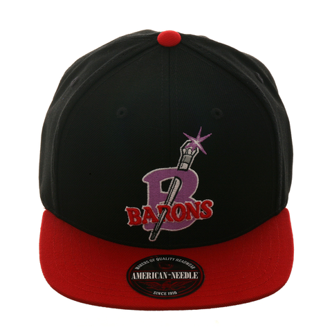 American Needle Replica Birmingham Barons Snapback Hat - 2T Black , Red
