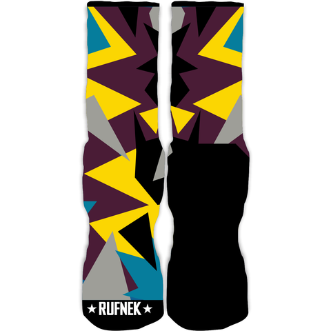 Rufnek Hardware Triangles Bordeaux 7's Socks