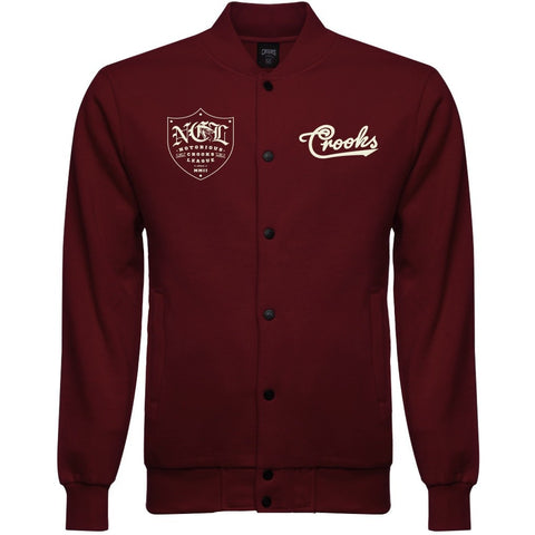 Crooks and Castles NCL Burgunday Baseball Jacket