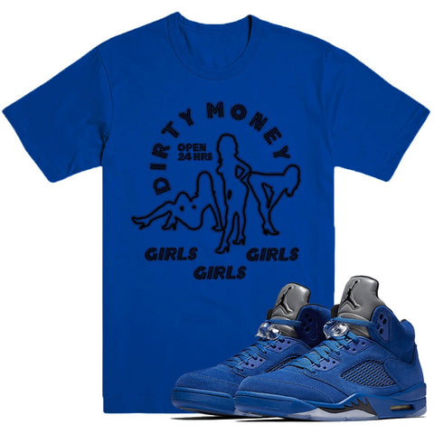 Dapper Sam Dirty Money Blue Suede 5s Tee