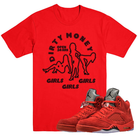 Dapper Sam Dirty Money Red Suede 5s Tee