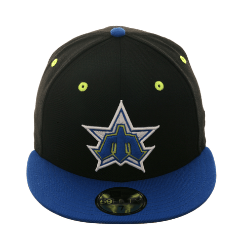 Exclusive New Era 59Fifty Seattle Mariners 1981 Hat - 2T Black, Royal, Neon Yellow