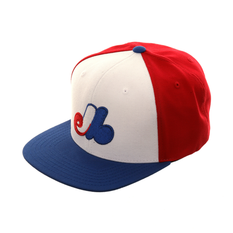 American Needle Replica Montreal Expos Rail Snapback Hat - 2T Red, Royal, White