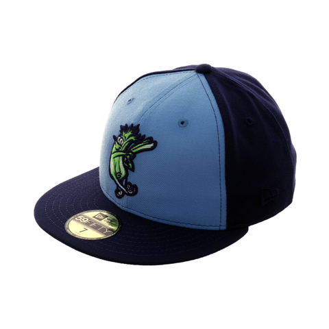 Exclusive New Era 59Fifty Wilmington Blue Rocks Celery Hat - 2T Light Blue, Light Navy