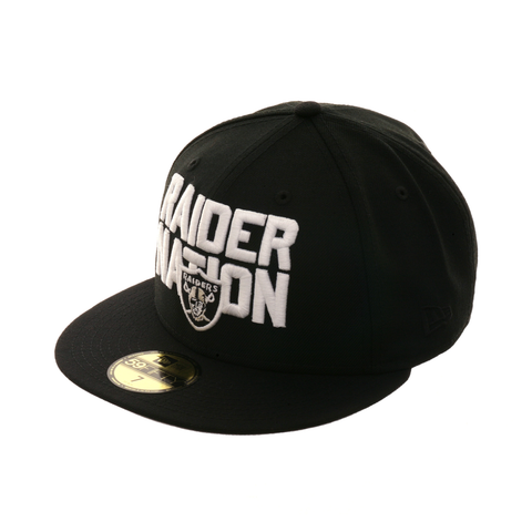 Exclusive New Era 59Fifty Oakland Raiders 'Raider Nation' Hat - Black