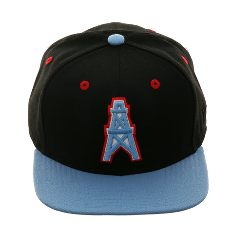 Exclusive New Era 9Fifty Houston Oilers Snapback Hat - 2T Black, Light Blue