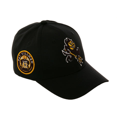 Zephyr Arizona State Sparky Pat Tillman 42 Patch Snapback Hat - Black