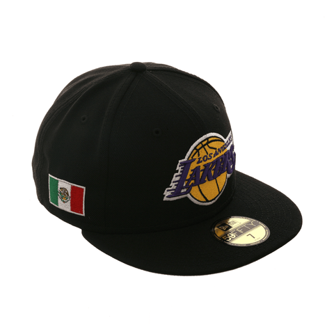 Exclusive New Era 59Fifty Los Angeles Lakers Mexico Flag Patch Hat - Black