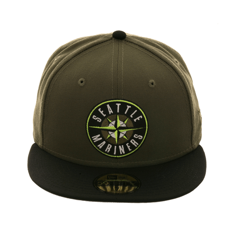 Exclusive New Era 59Fifty Seattle Mariners Patch Fitted Hat - 2T Olive Green, Black, Neon Yellow