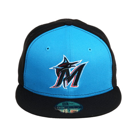Exclusive New Era 59Fifty Miami Marlins Rail Hat - Black, Neon Blue