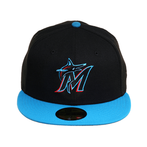 Exclusive New Era 59Fifty Miami Marlins Hat - 2T Black, Neon Blue