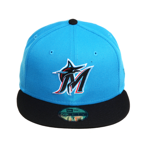 Exclusive New Era 59Fifty Miami Marlins Hat - 2T Neon Blue, Black
