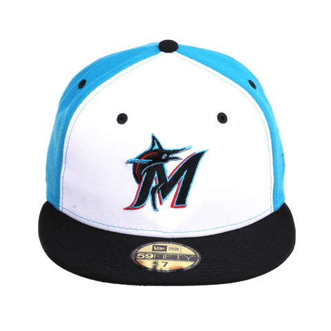 Exclusive New Era 59Fifty Miami Marlins Hat - White, Neon Blue, Black