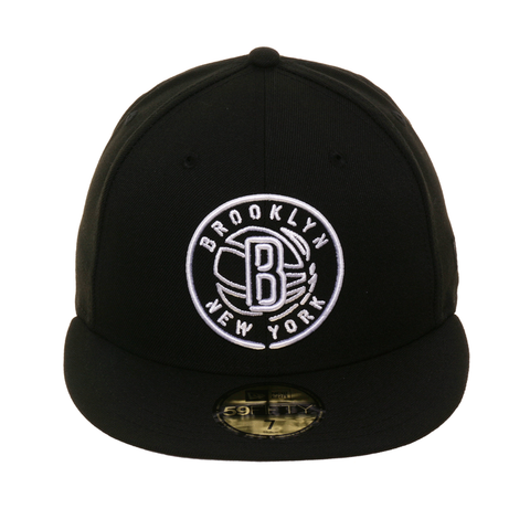 Exclusive New Era 59Fifty Brooklyn Nets Neon Hat - Black
