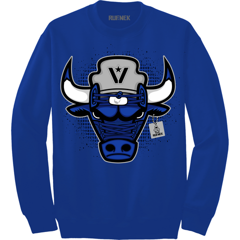 Rufnek Hardware War Bully Blue Suede 5s Crewneck