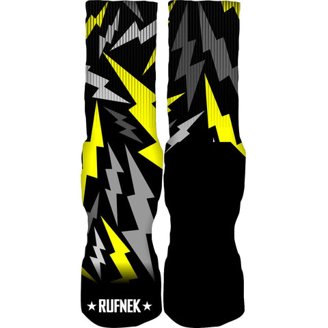 Rufnek Hardware Custom Bolts Thunder 14's Black Socks