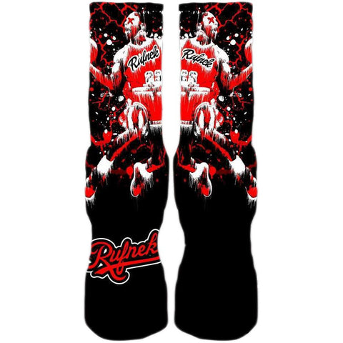 Rufnek Hardware MJ85 Splatter Black and Red Bred 1 Socks