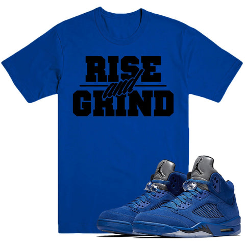 Dapper Sam Rise and Grind Blue Suede 5s Tee