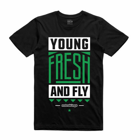 Retro Kings Clothing Young and Fly Pine Green 1s Tee