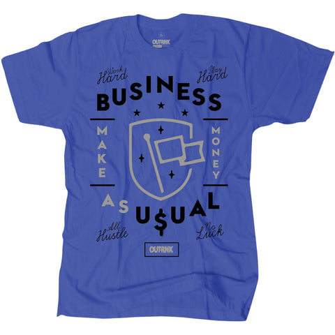OutRank Apparel Business as Usual Blue Suede 5s Tee