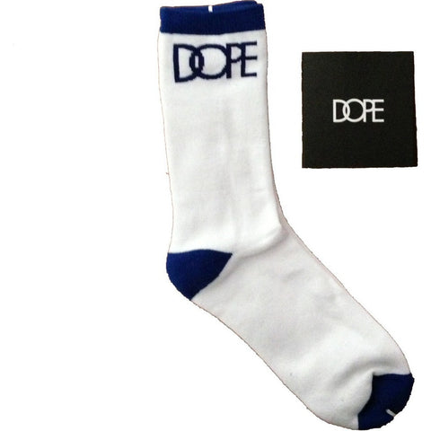 Dope Couture Logo White with Royal Blue Socks