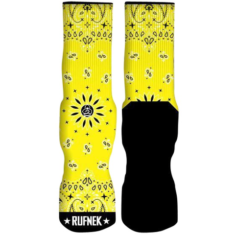 Rufnek Hardware Custom Paisley Yellow Socks