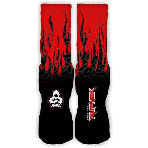 Rufnek Hardware Custom Flames Fire Red Socks