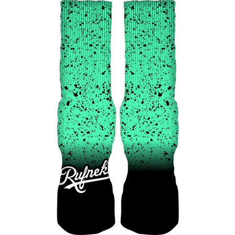 Rufnek Hardware Custom Splatter Green Glow Socks