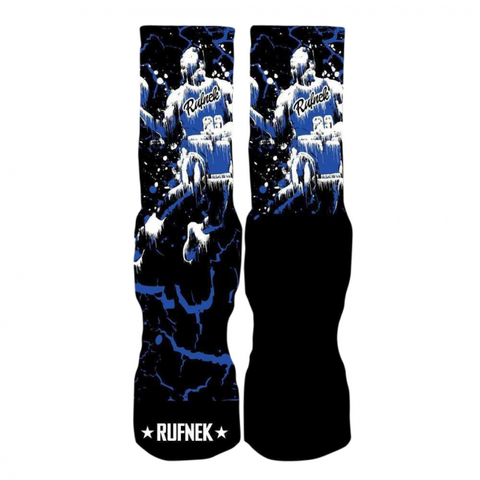 Rufnek Hardware Custom MJ Drip Sport Blue Socks