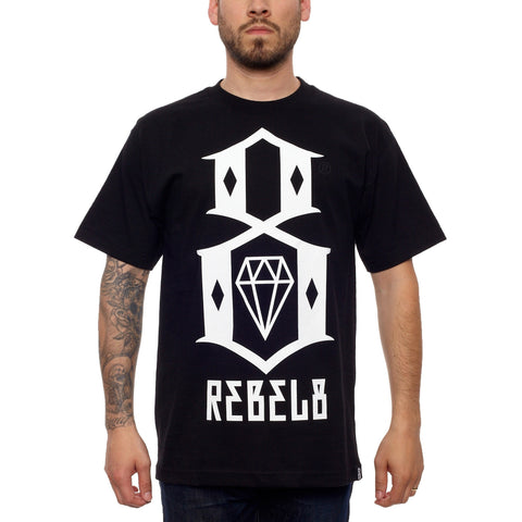 Rebel 8 R8 Logo Black and White Tee