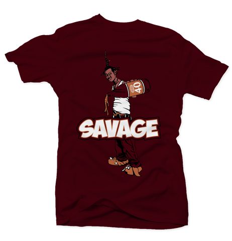 Savage Be a Menace Bordeaux 5s Tee