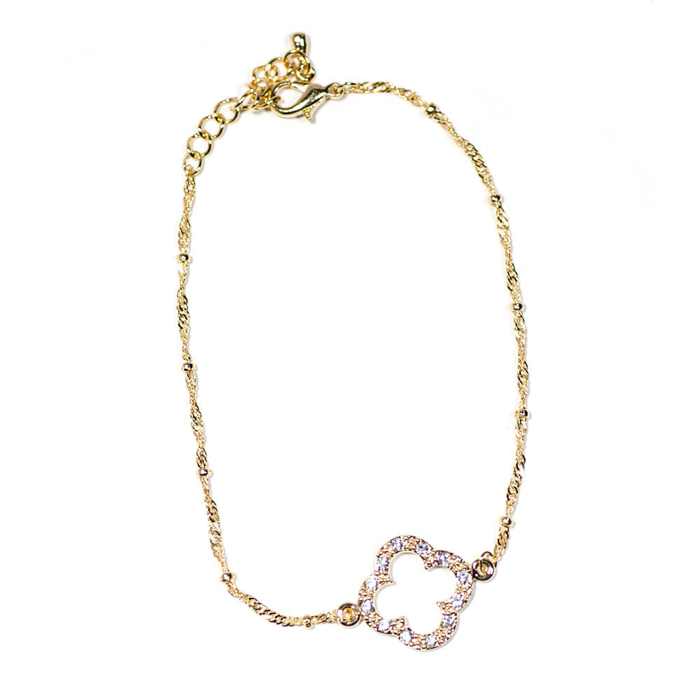 marlyn schiff open clover gold and cz bracelet