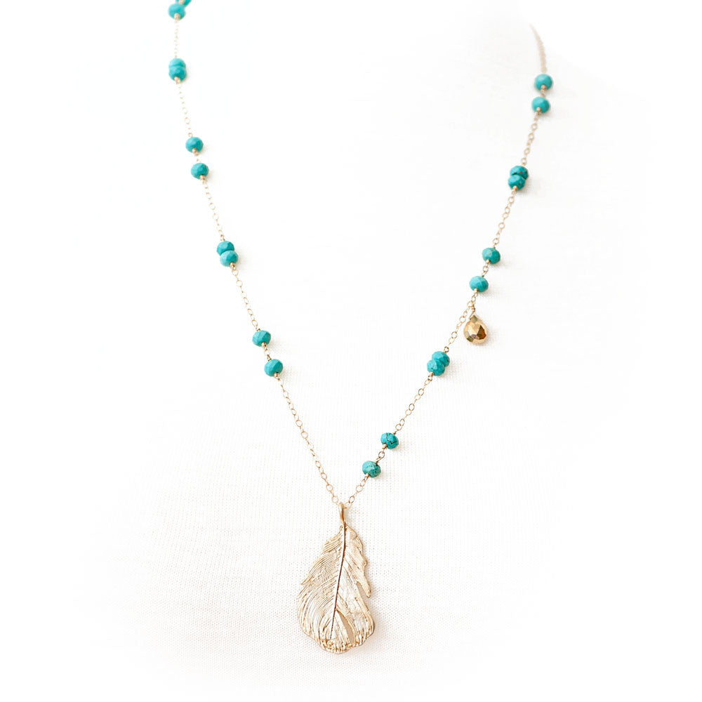 Gina Luce Leaf Necklace Turquoise