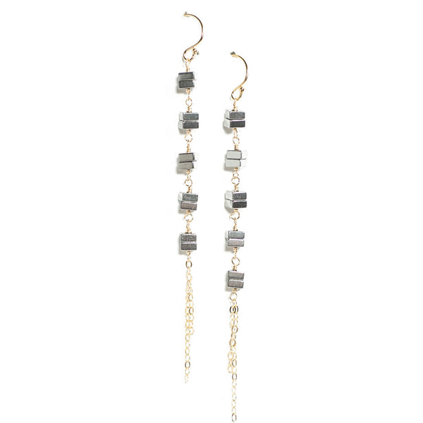 Gina Luce Squares Earrings Hematite
