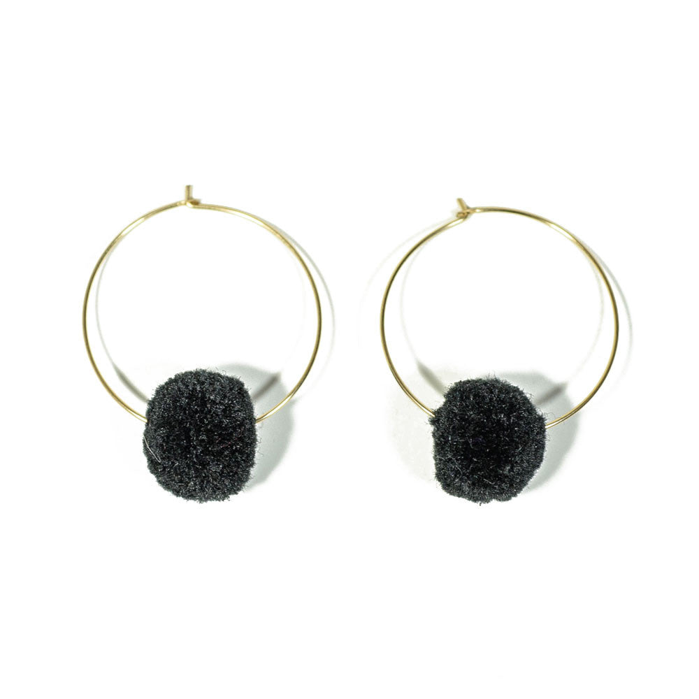 Gina Luce Small Pompom Earrings Gray