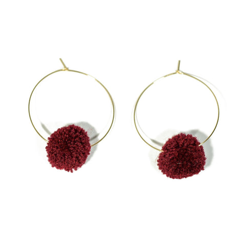 Gina Luce Large Pompom Earrings Wine