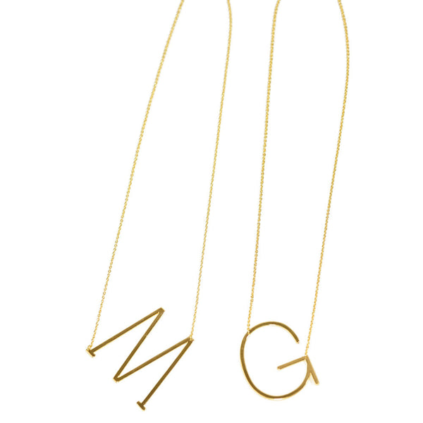 CAI Large Sideways Initial Necklace