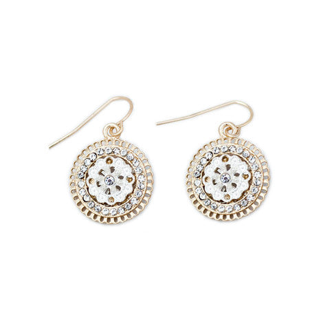 Marlyn Schiff Crystal Coin Earrings Gold